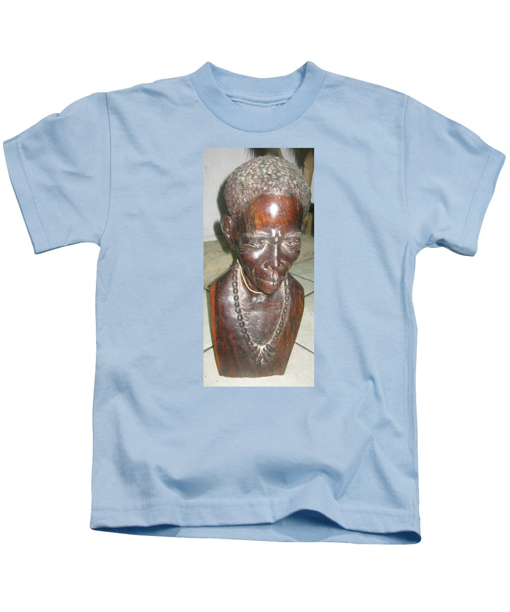 Mr Story Teller African Warrior Art Studios Wooden Sculpture Art Tribe Collection African Artist Kids T-Shirt featuring the sculpture Mr Story Teller by Pending