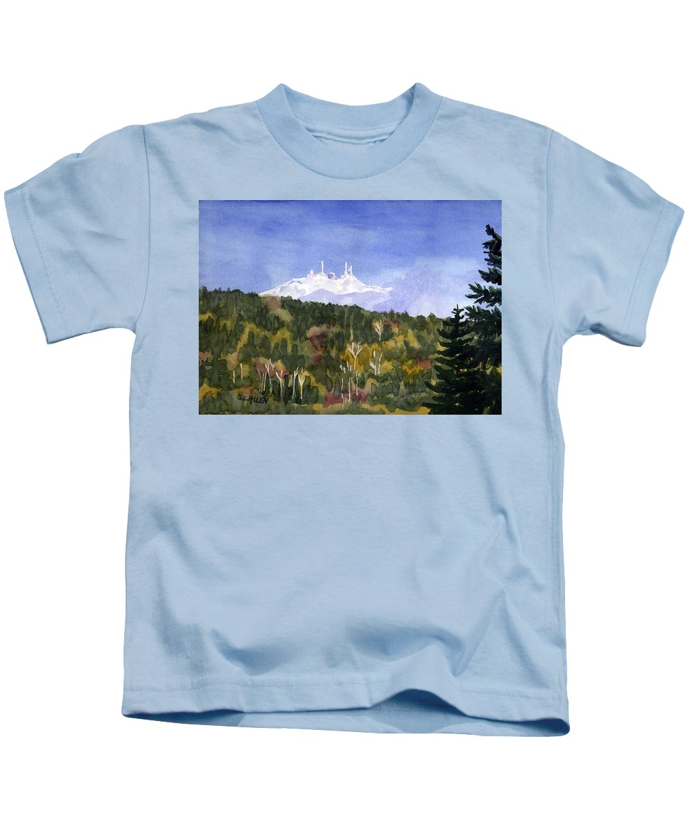Landscape Kids T-Shirt featuring the painting Almost Mystical by Sharon E Allen