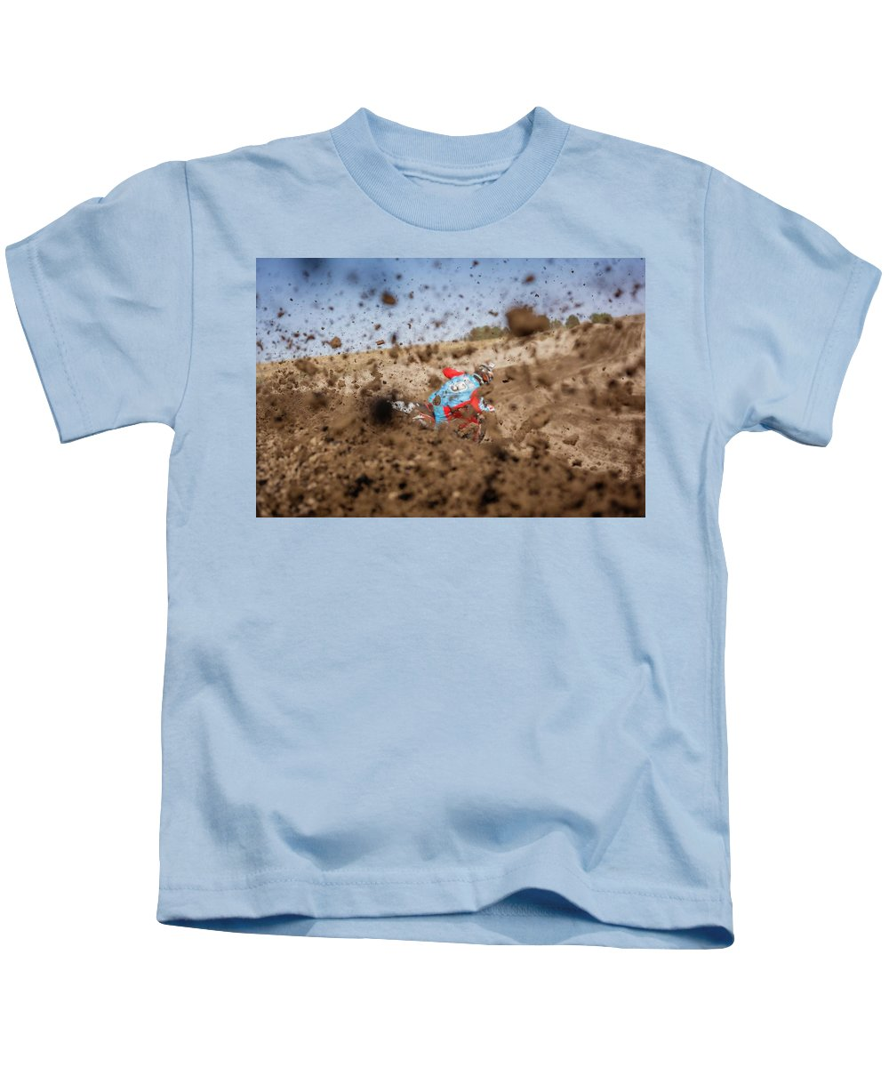 Dirt Bike Kids T-Shirt featuring the photograph Mud Action by Billy Soden