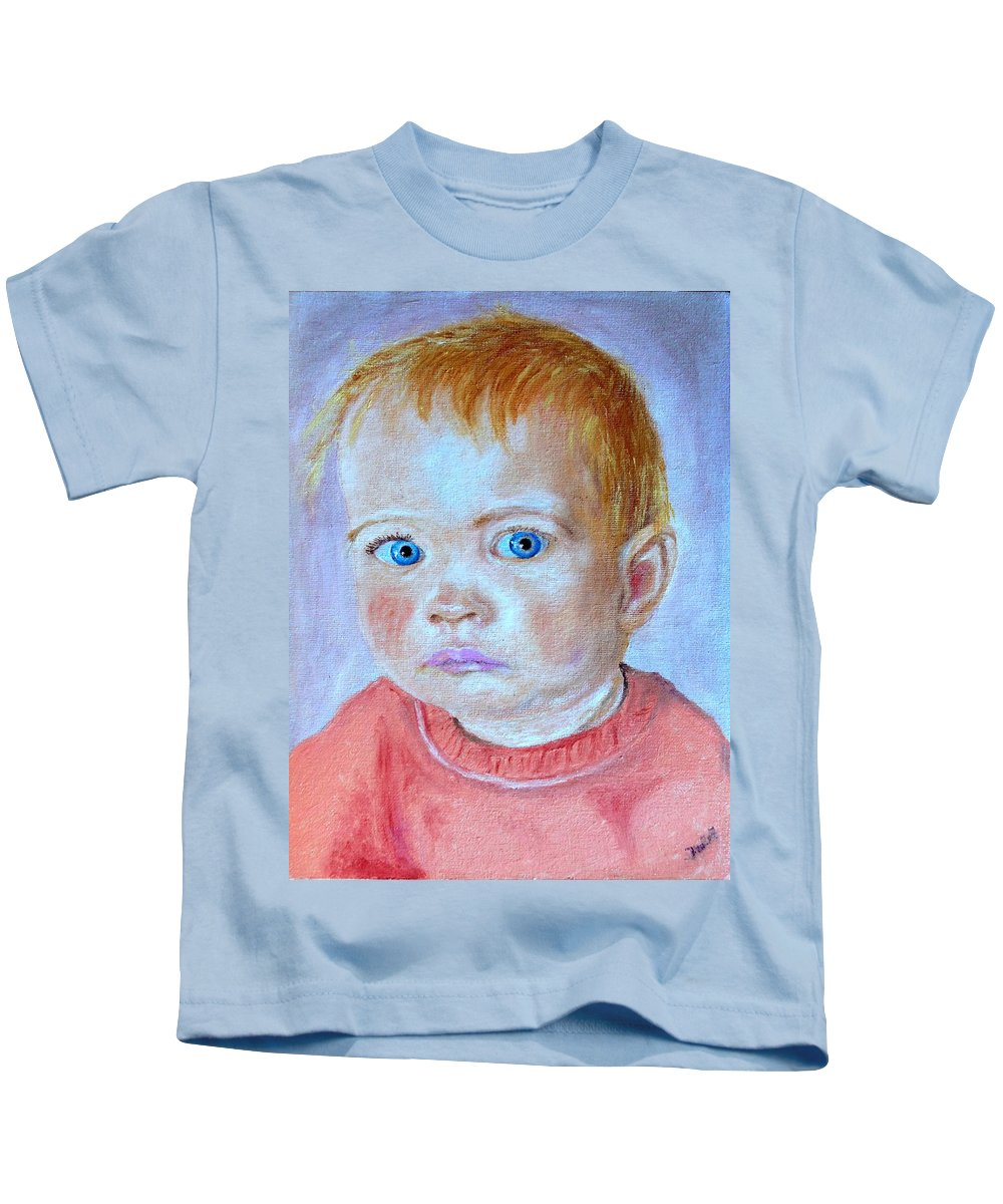 Leonie Kids T-Shirt featuring the painting My Granddaughter Leonie by Helmut Rottler