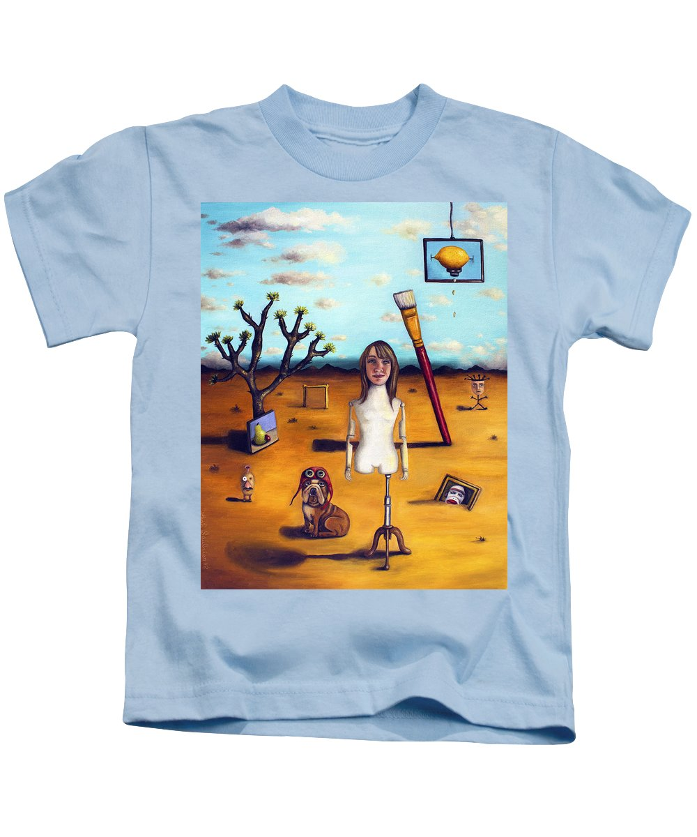 Me Kids T-Shirt featuring the painting My Surreal Life by Leah Saulnier The Painting Maniac