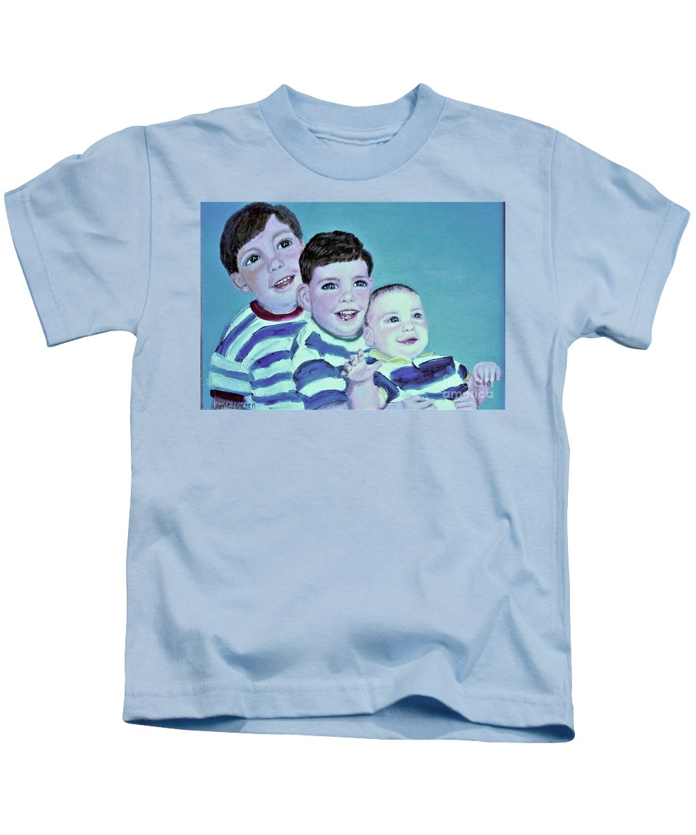 Children Kids T-Shirt featuring the painting My Three Sons by Laurie Morgan