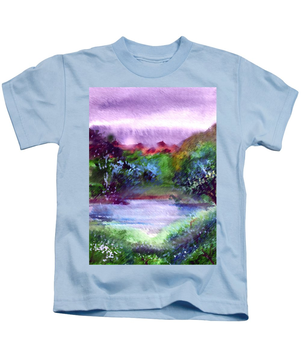 Lake Kids T-Shirt featuring the painting Mystic Lake by Anil Nene