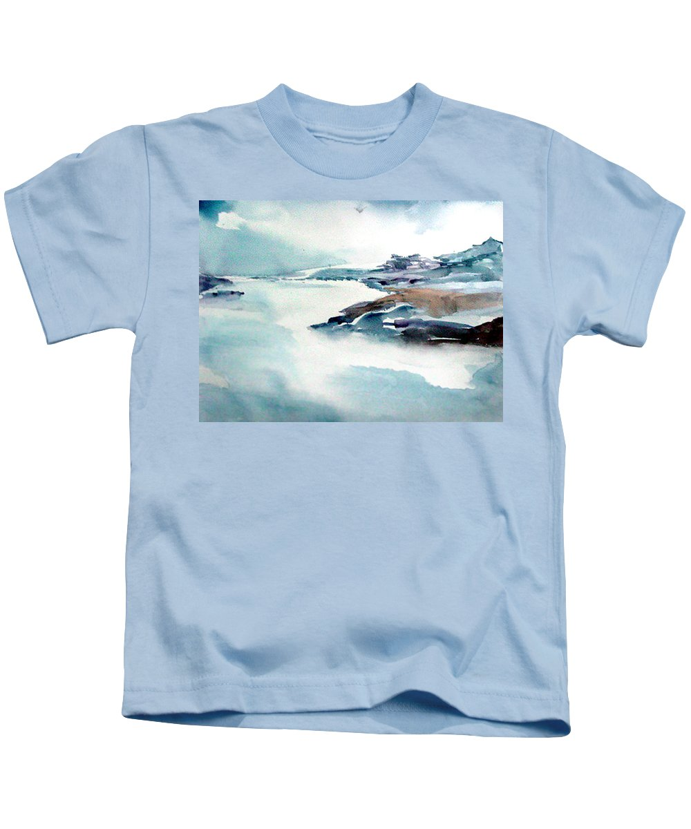 River Kids T-Shirt featuring the painting Mystic River by Anil Nene
