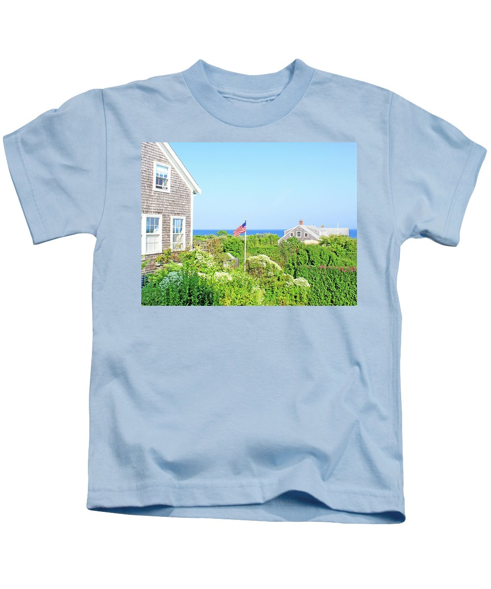 Nantucket Kids T-Shirt featuring the photograph Nantucket Cottages Overlooking The Sea by Images By Stephanie
