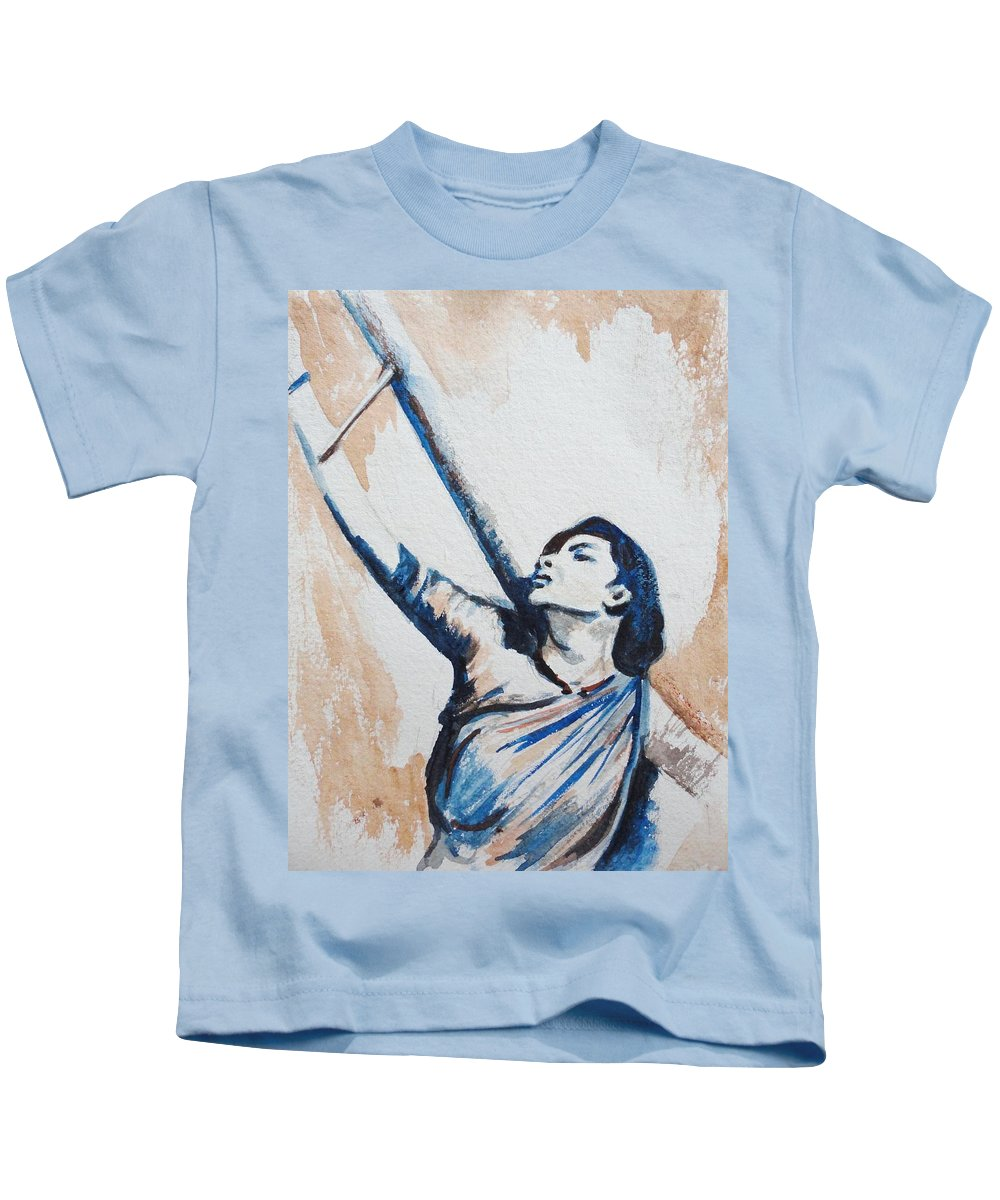 Kids T-Shirt featuring the painting Nargis Bollywood Star by Usha Shantharam