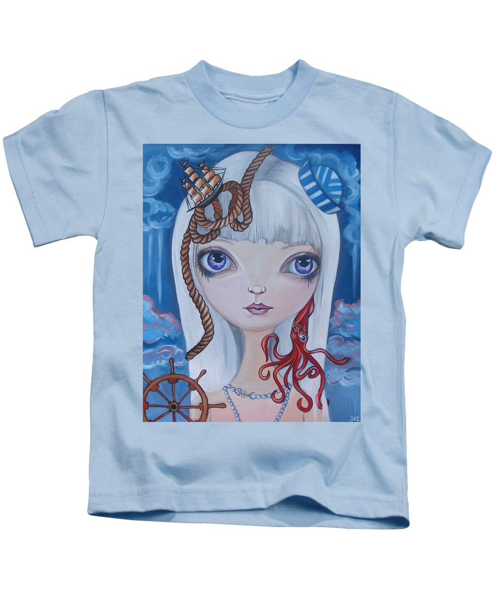 Nautical Kids T-Shirt featuring the painting Naughty Cal by Jaz Higgins