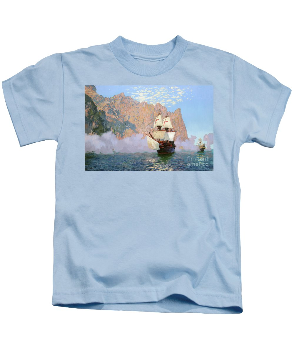 New Albion Kids T-Shirt featuring the painting New Albion. Sir Francis Drakes Ship by Simon Kozhin