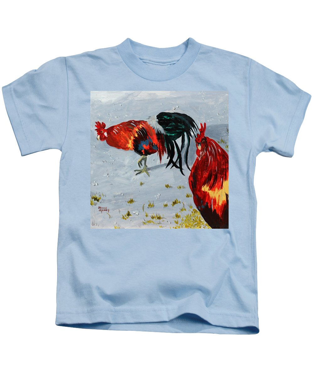 Roosters Kids T-Shirt featuring the painting New Harmony Roosters by Jaime Haney