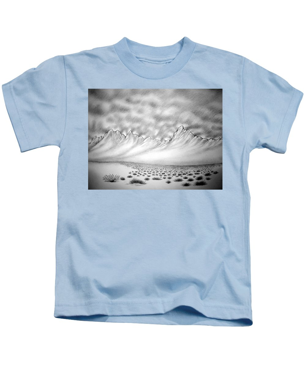Kids T-Shirt featuring the drawing New Mexico Passage by Marco Morales