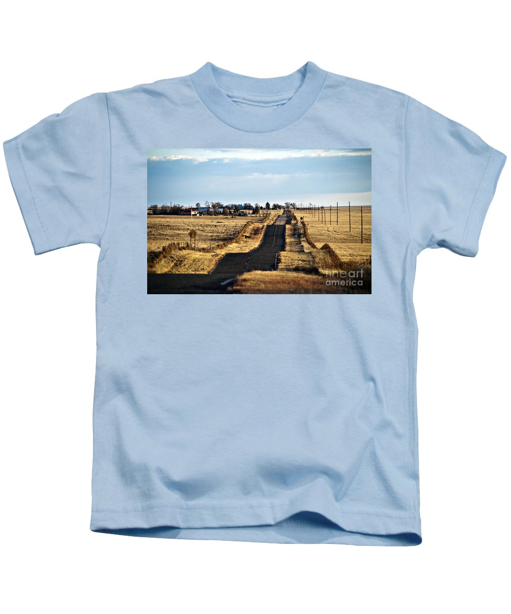 Afternoon Kids T-Shirt featuring the photograph New Mexico Road by Ray Laskowitz - Printscapes
