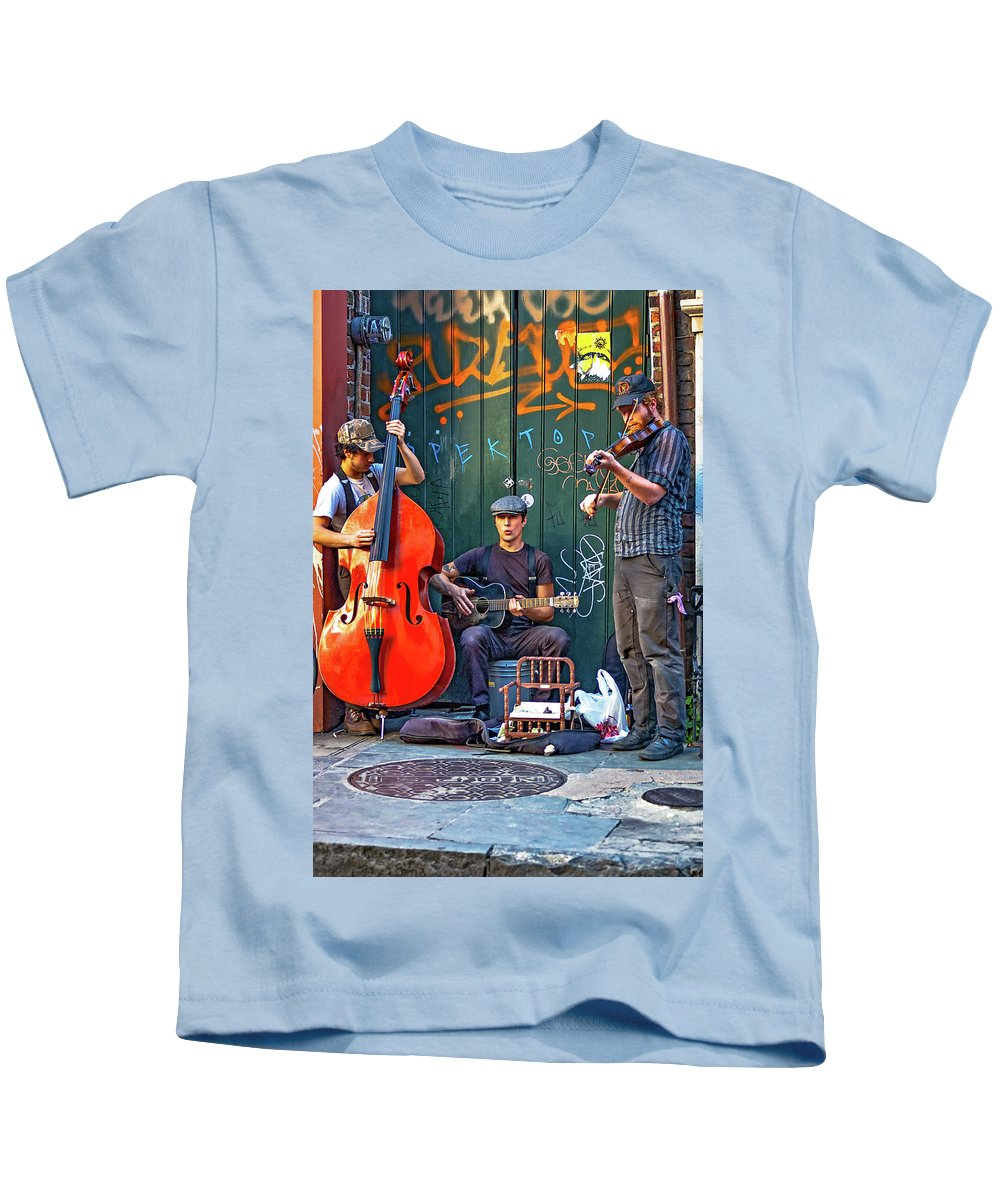 French Quarter Kids T-Shirt featuring the photograph New Orleans Street Musicians by Steve Harrington