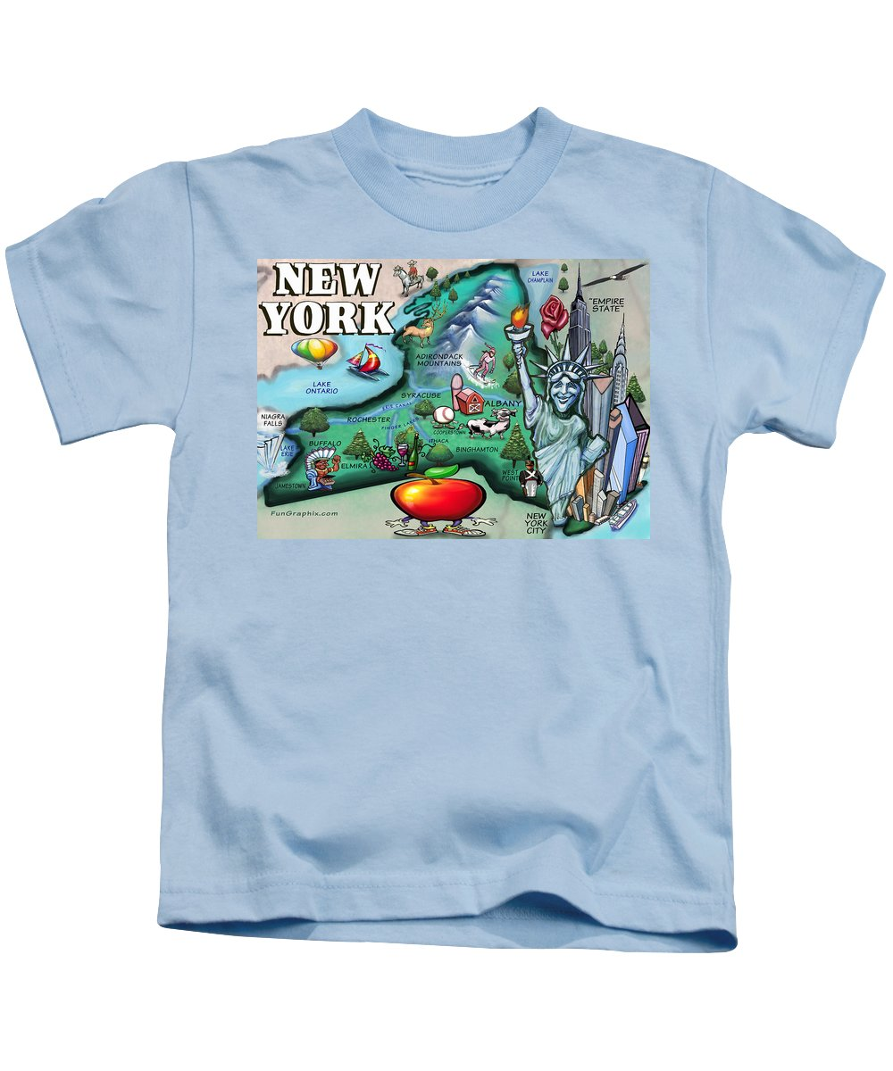New York Kids T-Shirt featuring the digital art New York Cartoon Map by Kevin Middleton