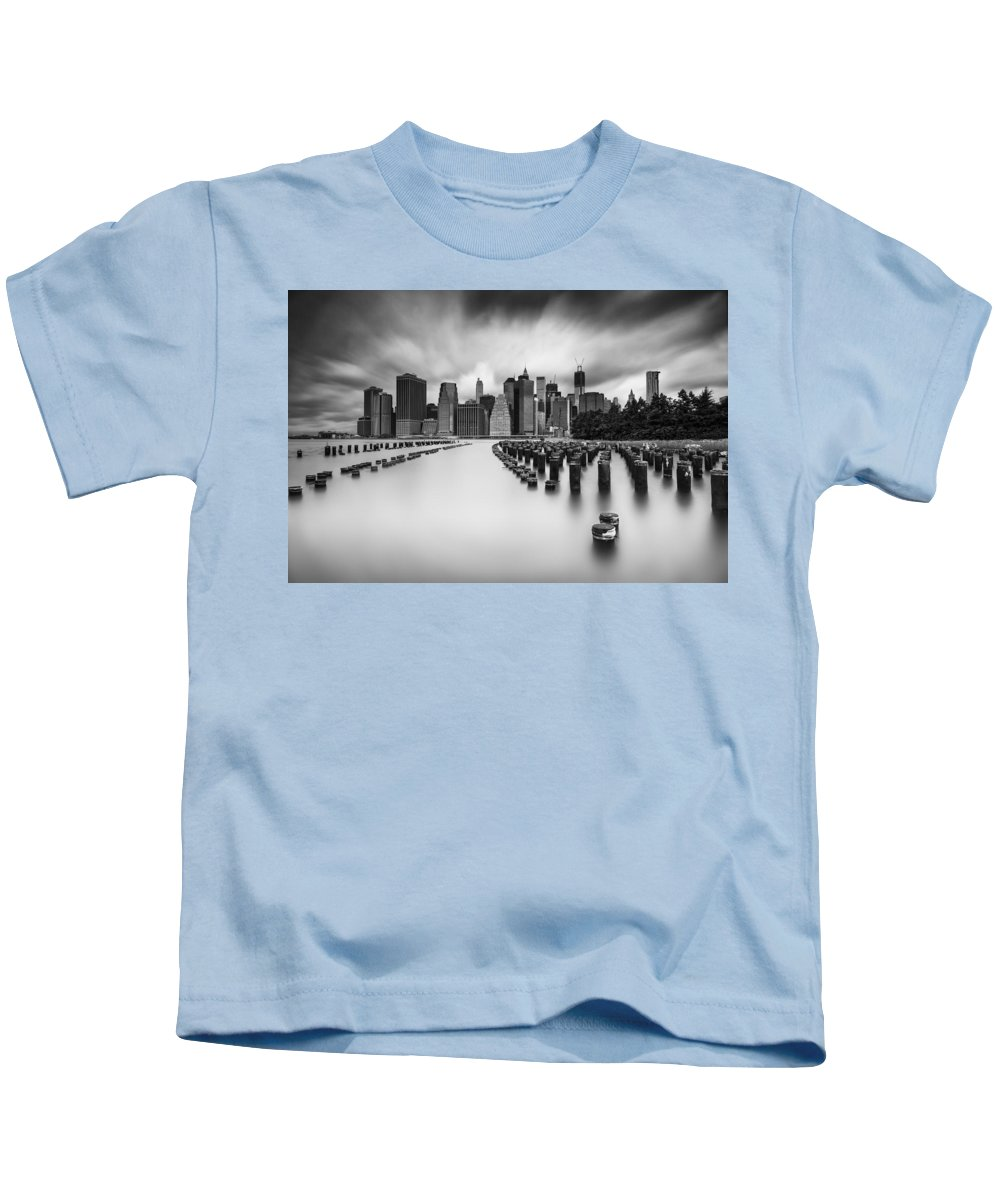 New York City Kids T-Shirt featuring the photograph New York City In Black And White by Rick Berk