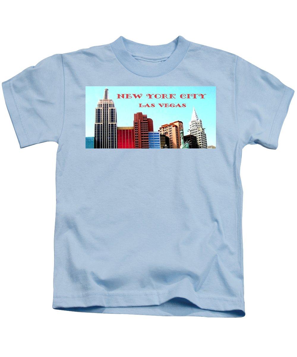 Poster Kids T-Shirt featuring the digital art New York City- Las Vegas by Will Borden