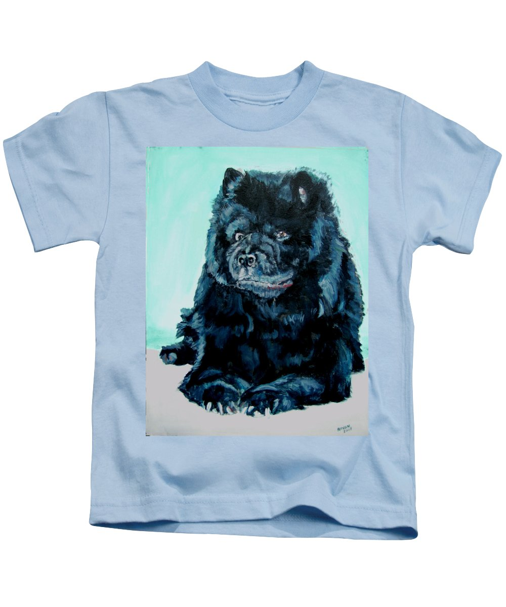 Dog Kids T-Shirt featuring the painting Nikki The Chow by Bryan Bustard