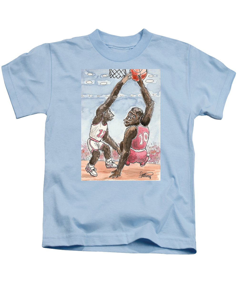 Basketbal Kids T-Shirt featuring the painting No No No by George I Perez