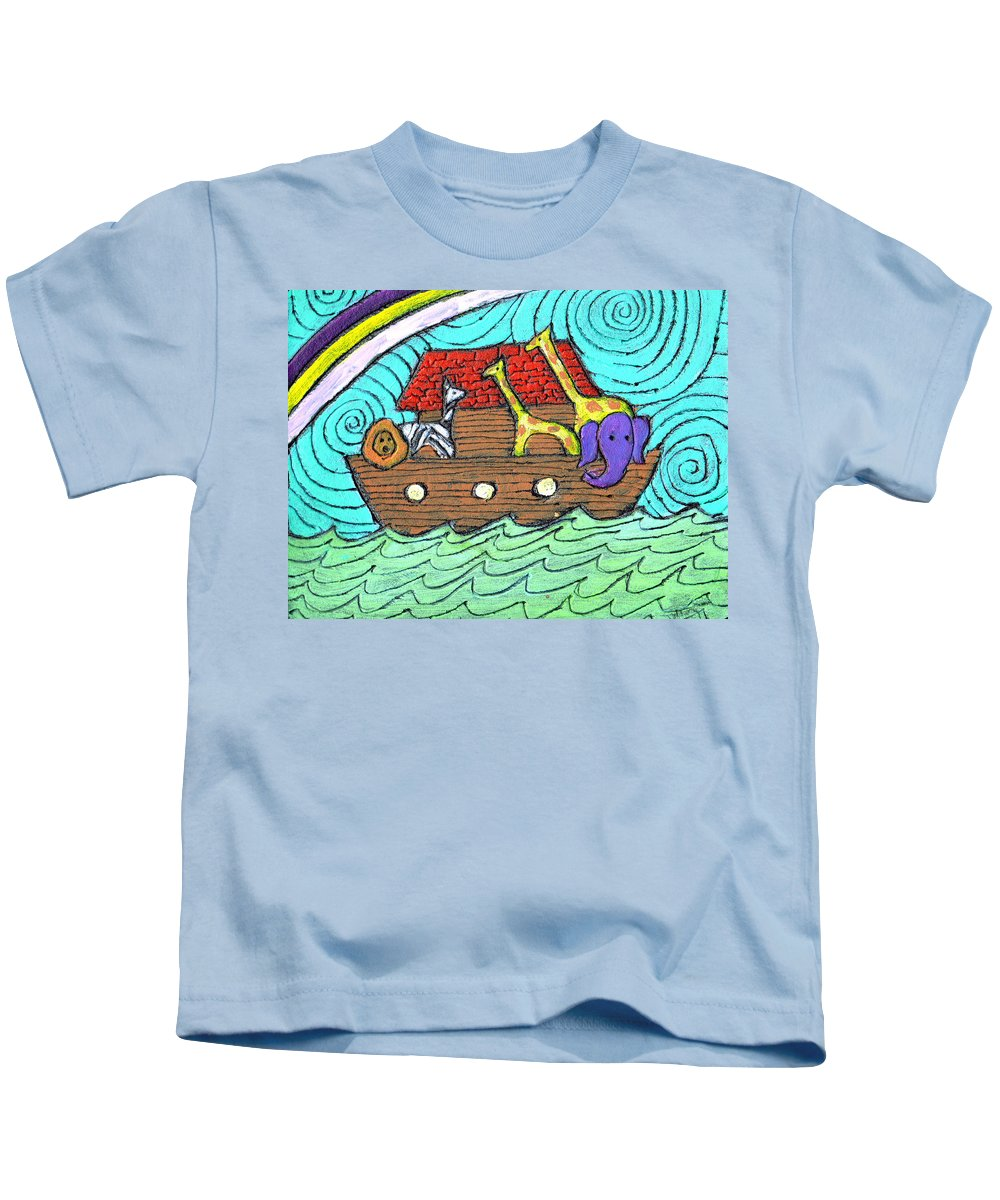 Children's Kids T-Shirt featuring the painting Noahs Ark Two by Wayne Potrafka