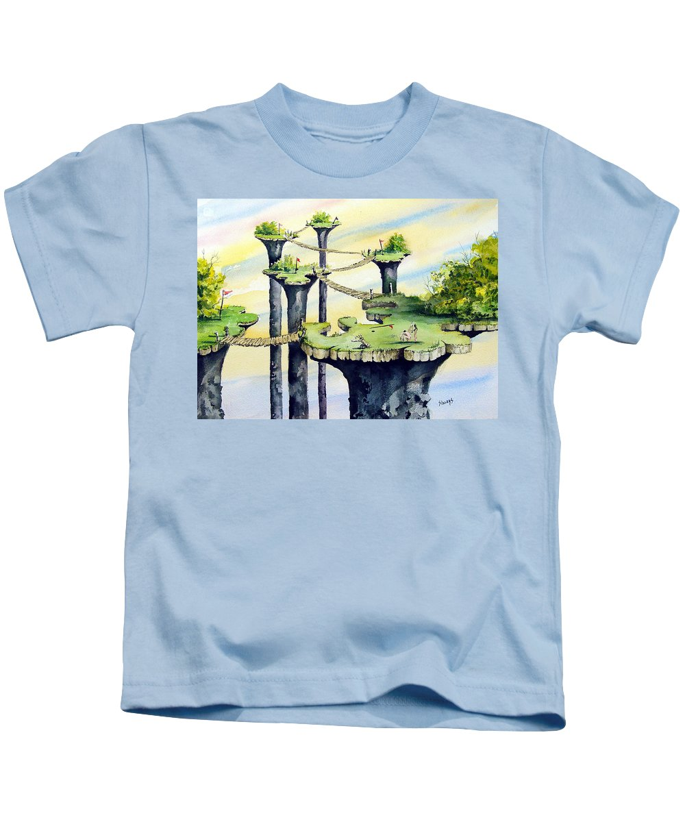 Golf Kids T-Shirt featuring the painting Nod Country Club by Sam Sidders