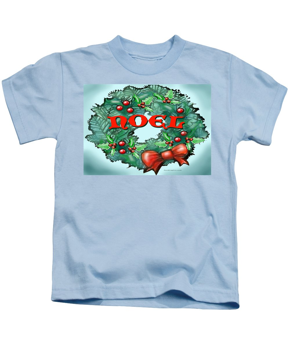 Noel Kids T-Shirt featuring the greeting card Noel by Kevin Middleton