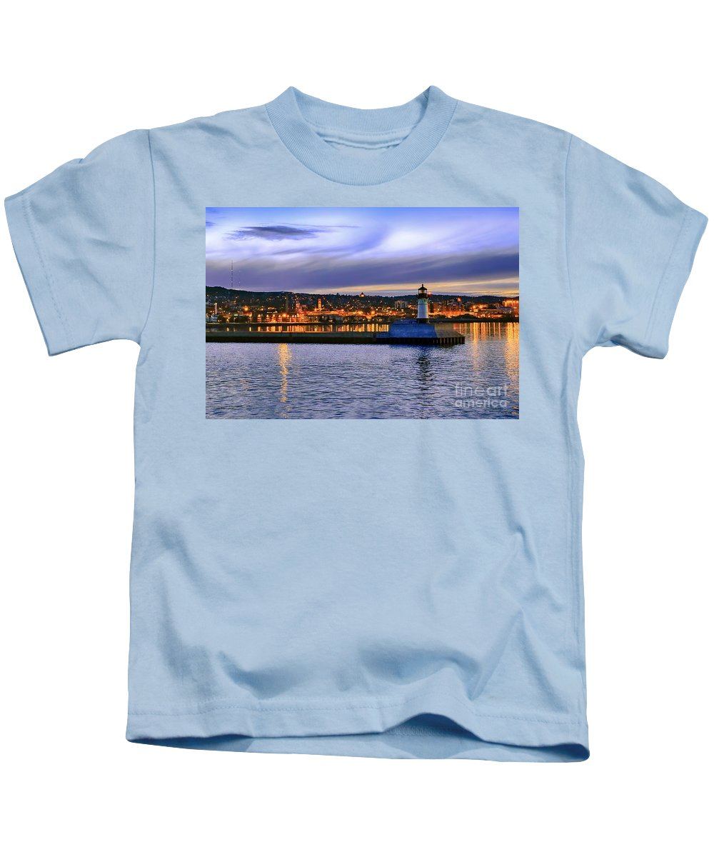 Duluth Kids T-Shirt featuring the photograph North Pier Evening by Bryan Benson