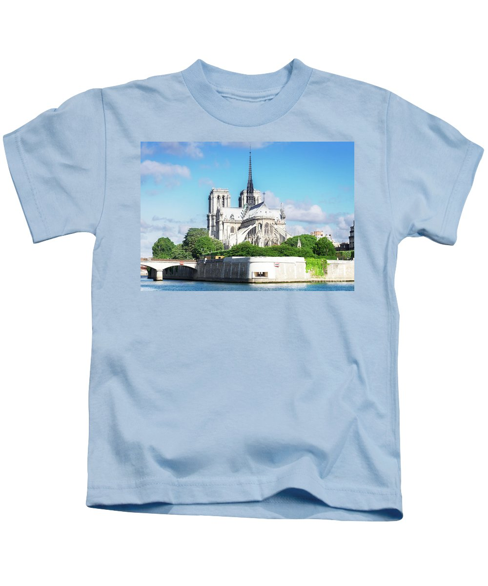 Notre-dame Kids T-Shirt featuring the photograph Notre Dame Over Water by Anastasy Yarmolovich