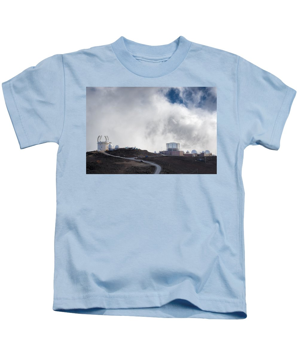 Clouds Kids T-Shirt featuring the photograph Observatories At The Summit Of Mount Haleakala by Jim Thompson