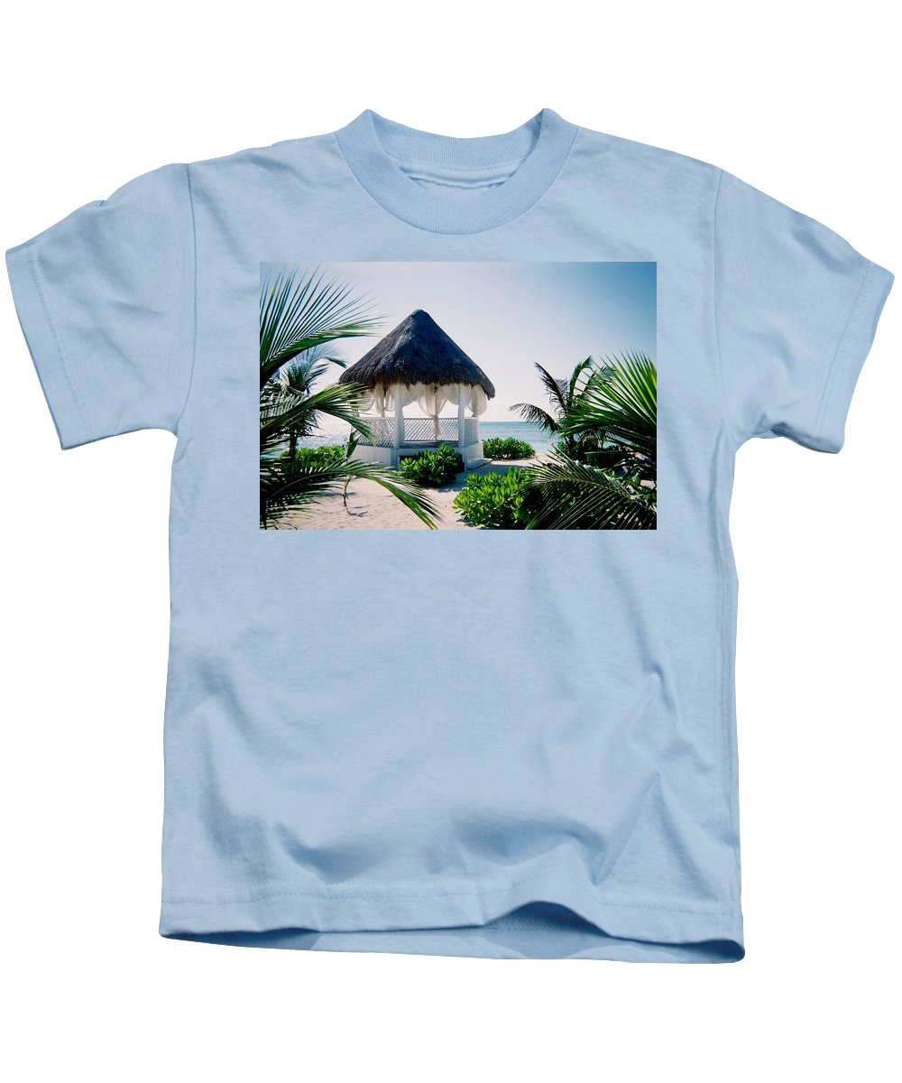 Resort Kids T-Shirt featuring the photograph Ocean Gazebo by Anita Burgermeister