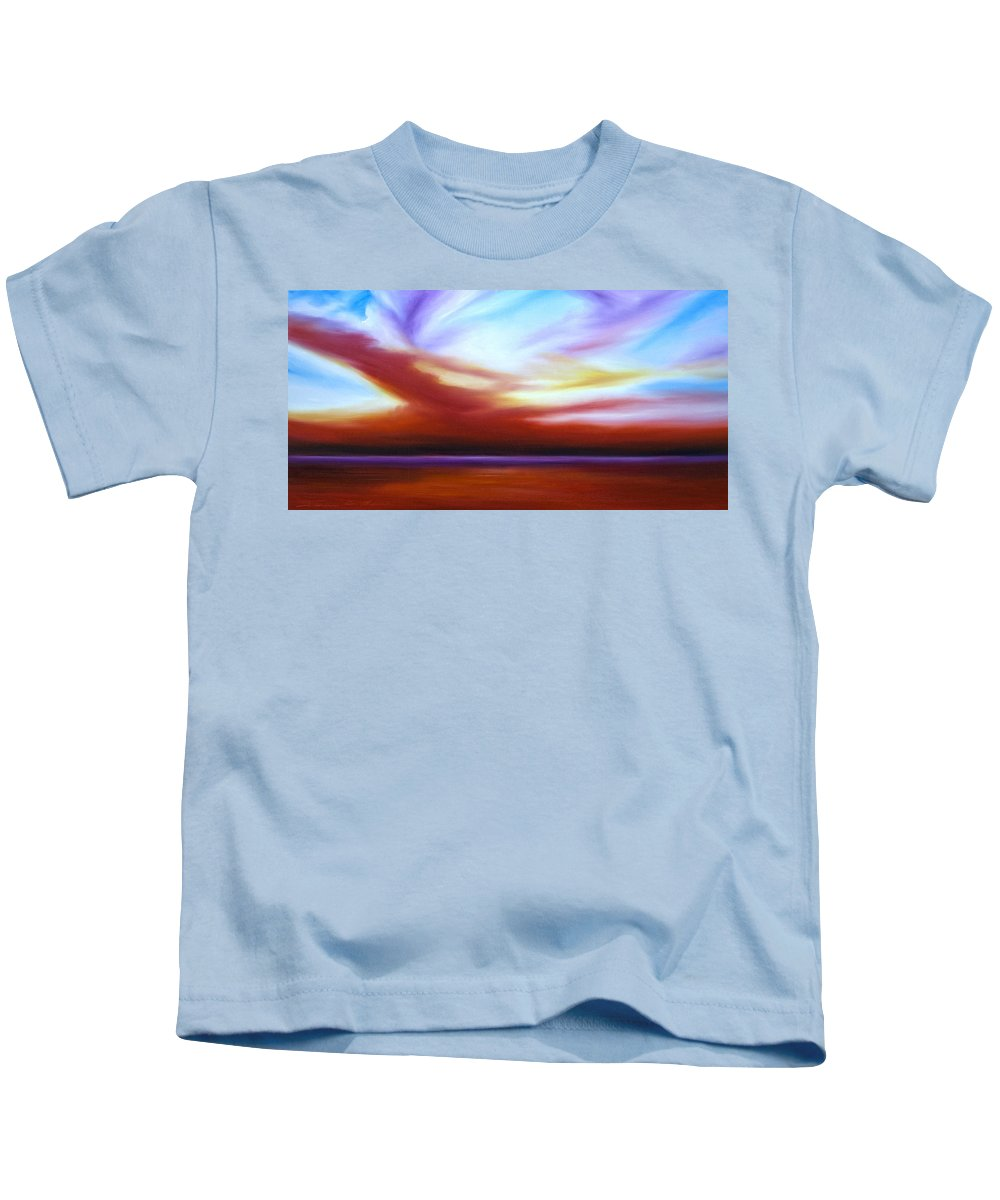 Skyscape Kids T-Shirt featuring the painting October Sky IIi by James Christopher Hill