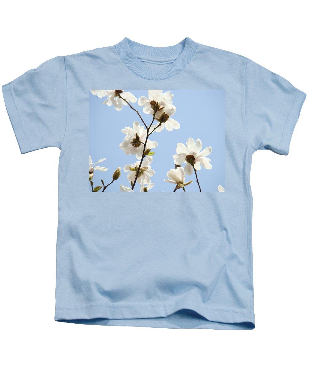 Blue Kids T-Shirt featuring the photograph Office Art Prints Blue Sky White Magnolia Flowers 38 Giclee Prints Baslee Troutman by Baslee Troutman