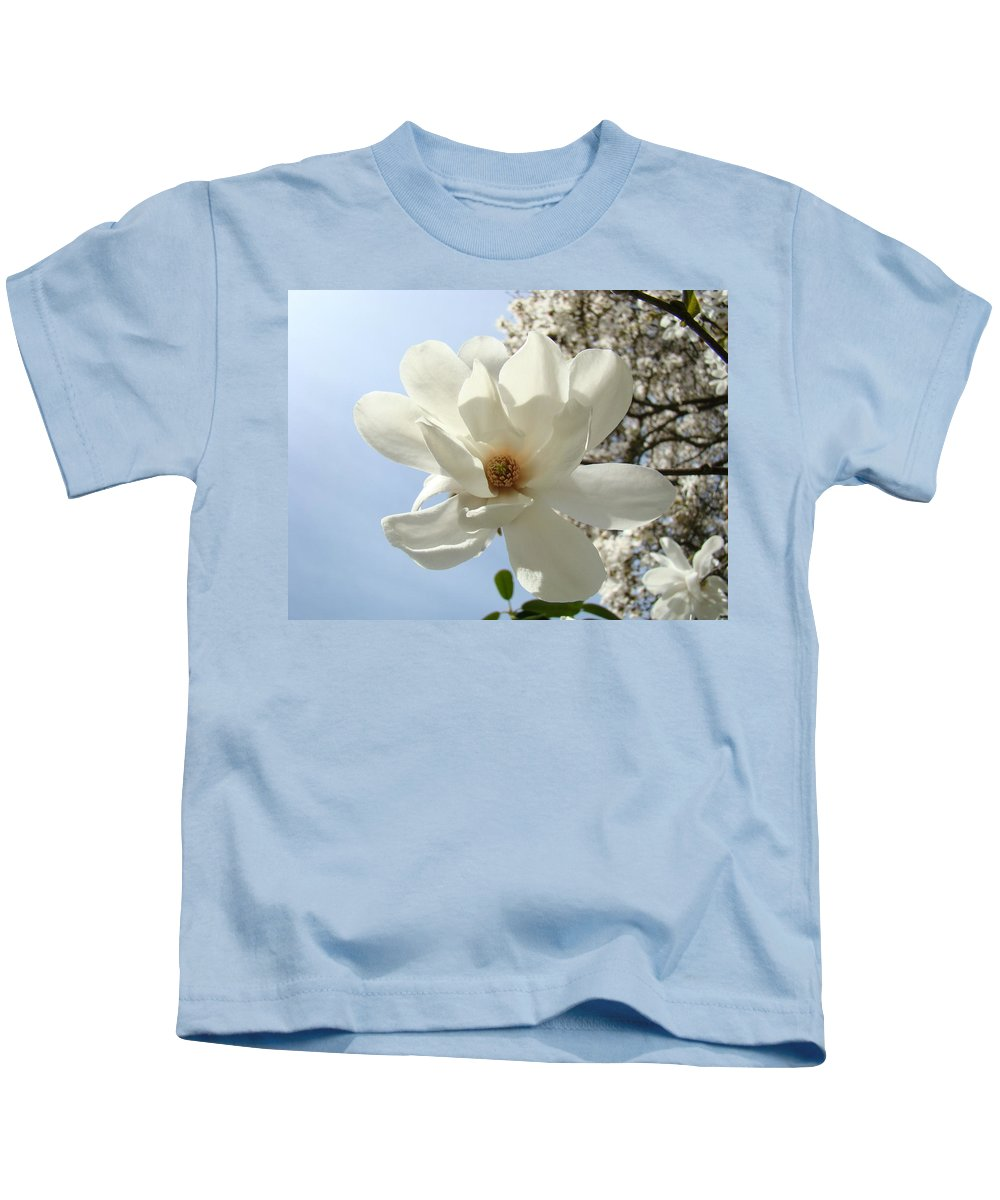 Magnolia Kids T-Shirt featuring the photograph Office Art Prints White Magnolia Flower 66 Blue Sky Giclee Prints Baslee Troutman by Baslee Troutman