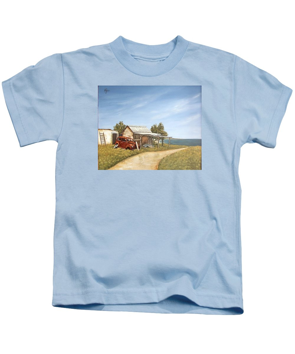 Old House Sea Seascape Landscape Kids T-Shirt featuring the painting Old House By The Sea by Natalia Tejera