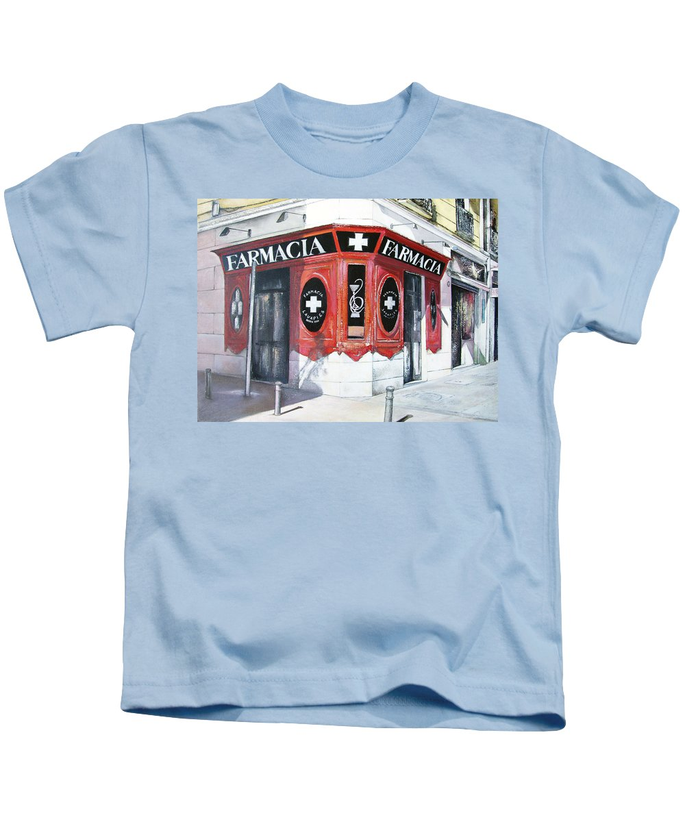 Pharmacy Kids T-Shirt featuring the painting Old Pharmacy by Tomas Castano