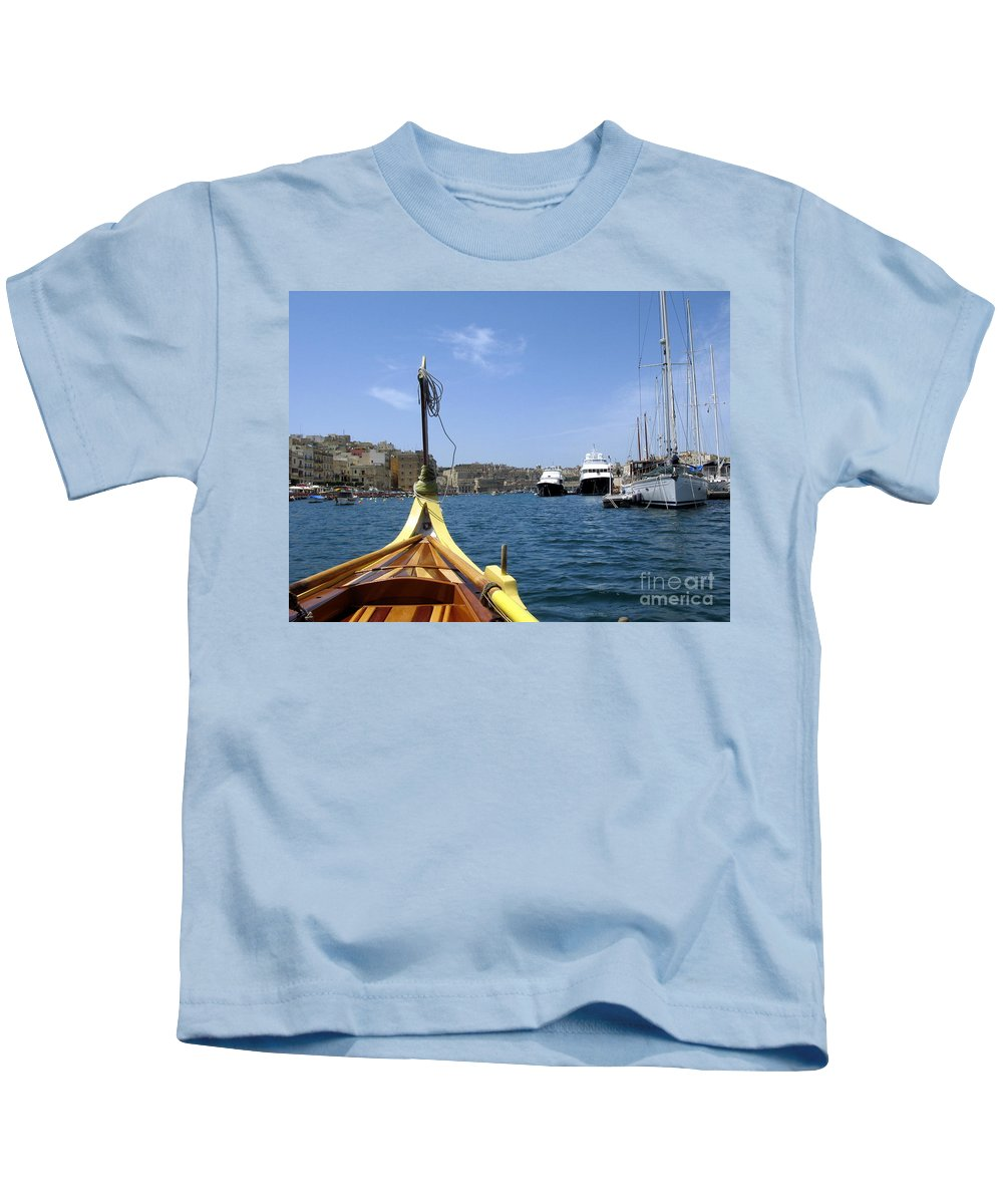 Malta Kids T-Shirt featuring the photograph On A Dghajsa by John Chatterley