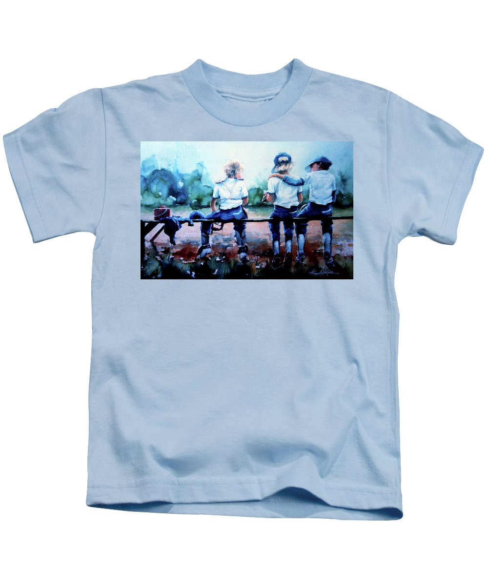 Boys Baseball Kids T-Shirt featuring the painting On The Bench by Hanne Lore Koehler