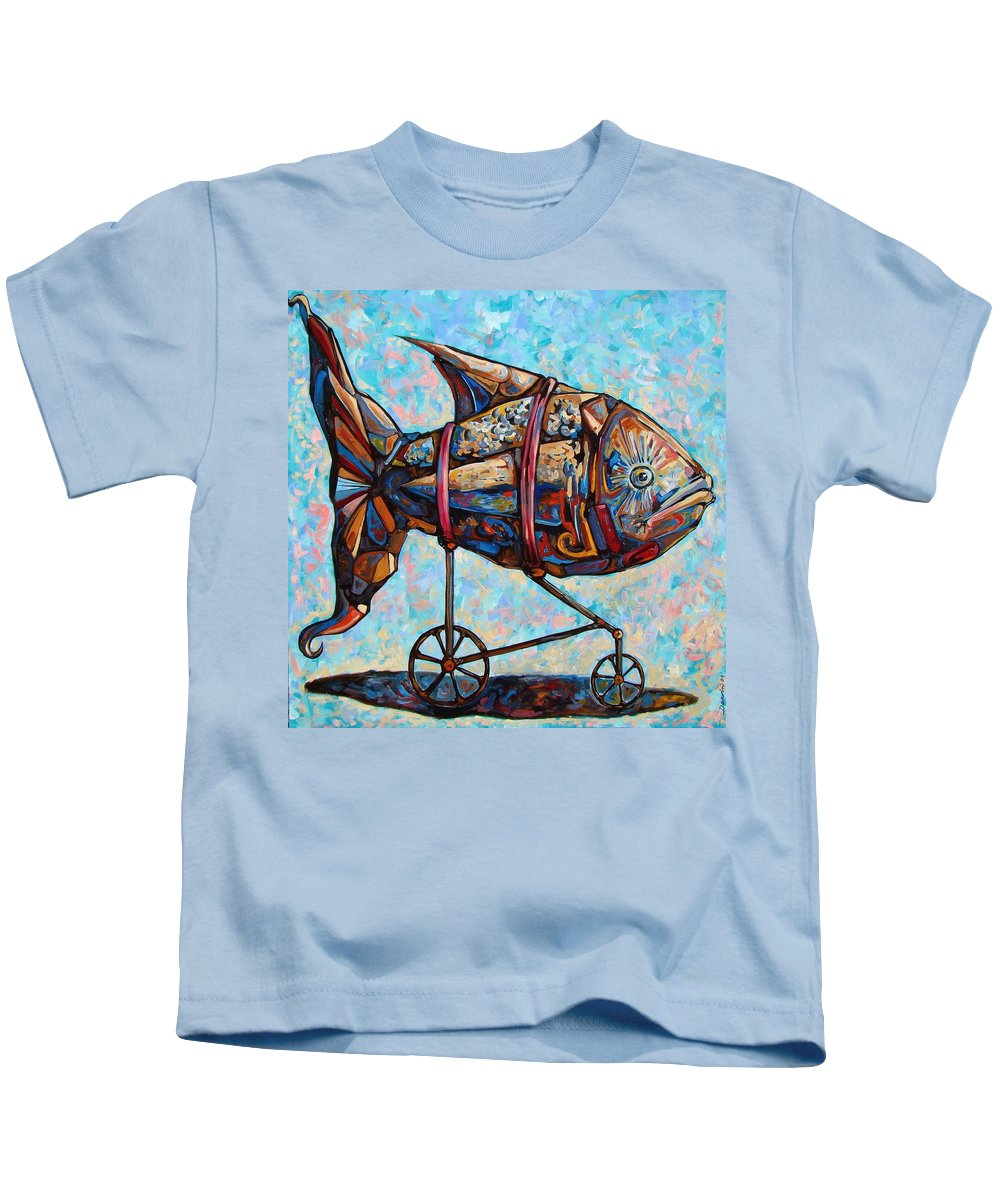 Surrealism Kids T-Shirt featuring the painting On The Conquer For Land by Darwin Leon