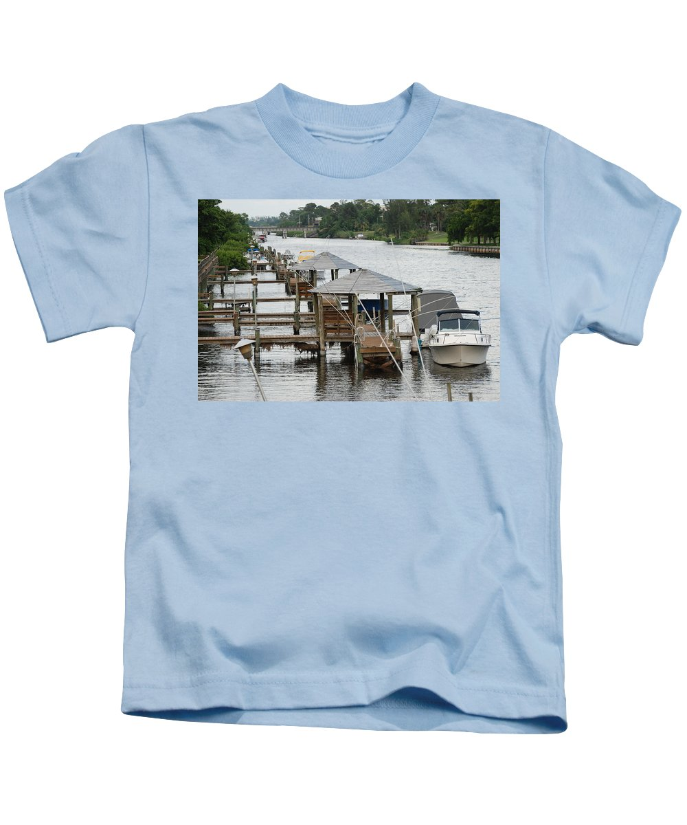 Boats Kids T-Shirt featuring the photograph On The Hillsboro Canal by Rob Hans