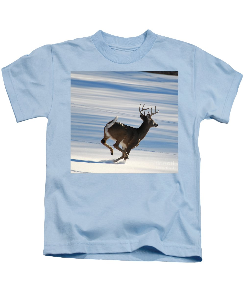 Deer Kids T-Shirt featuring the photograph On The Run by Todd Hostetter