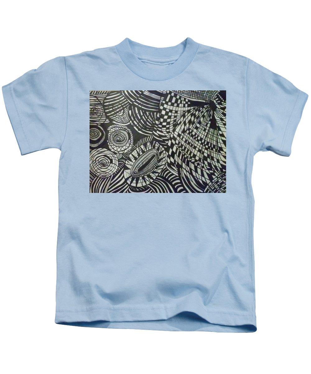 Hand Kids T-Shirt featuring the drawing One Nation by Bernadine Barnett