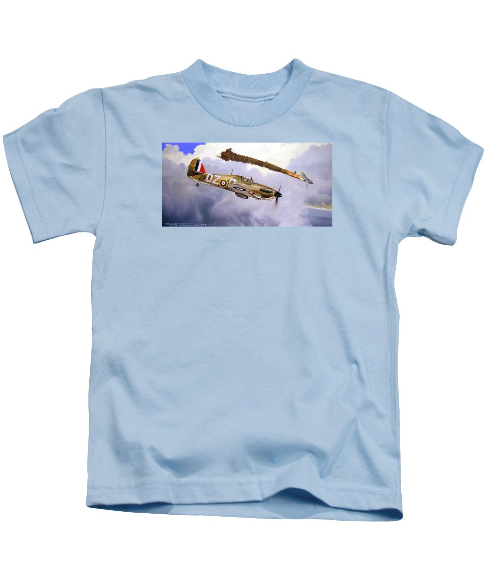 Aviation Art Kids T-Shirt featuring the painting One Of The Few by Marc Stewart
