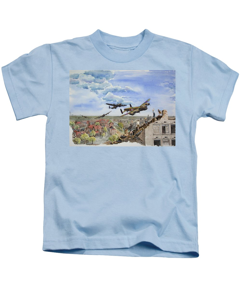 Lancaster Bomber Kids T-Shirt featuring the painting Operation Manna I by Gale Cochran-Smith