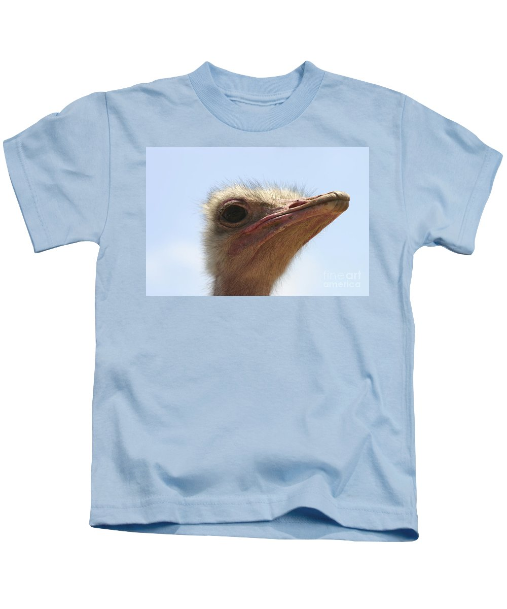 Ostrich Kids T-Shirt featuring the photograph Ostrich Head Close Up by Danny Yanai