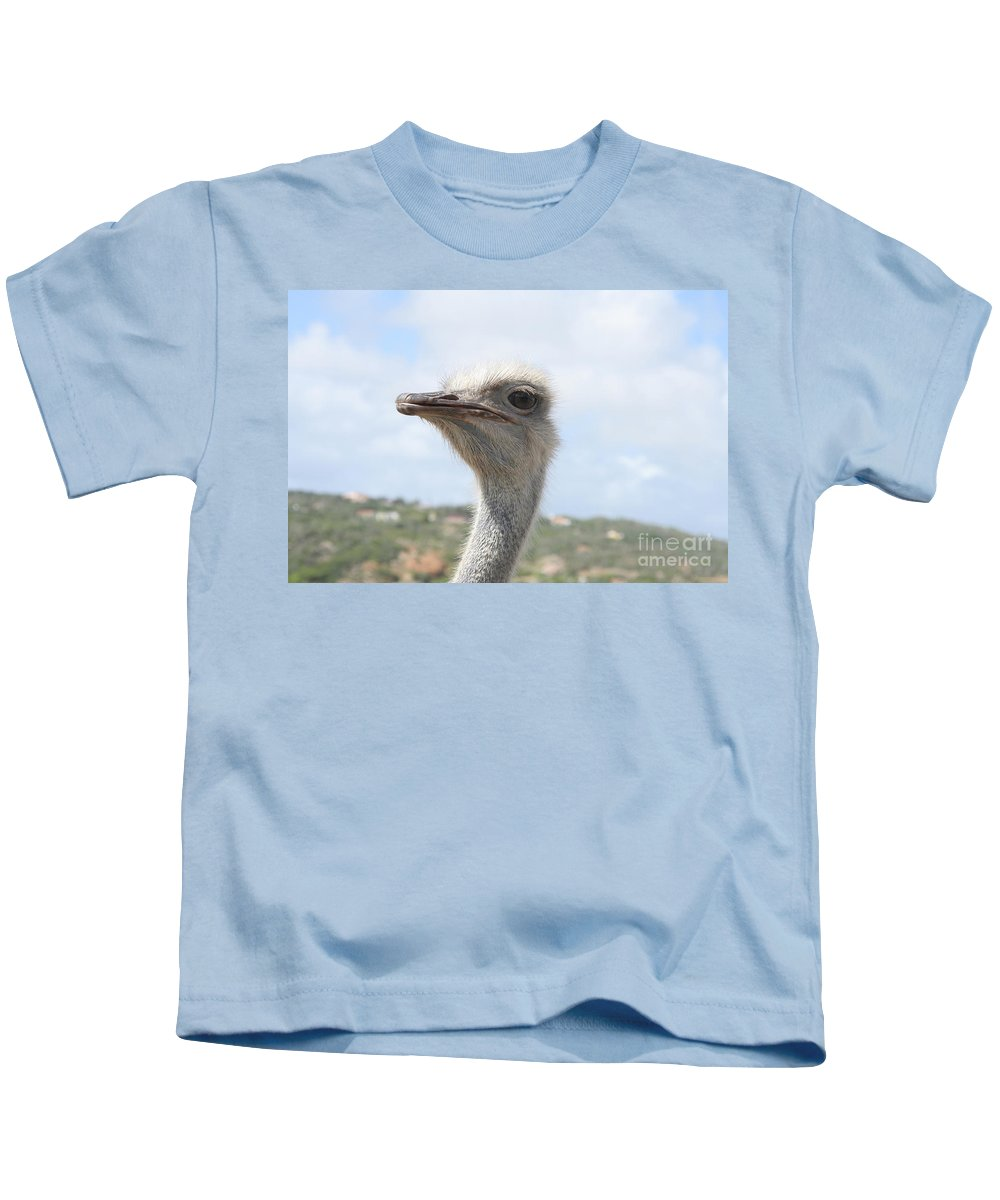 Ostrich Kids T-Shirt featuring the photograph Ostrich Head II by Thomas Marchessault