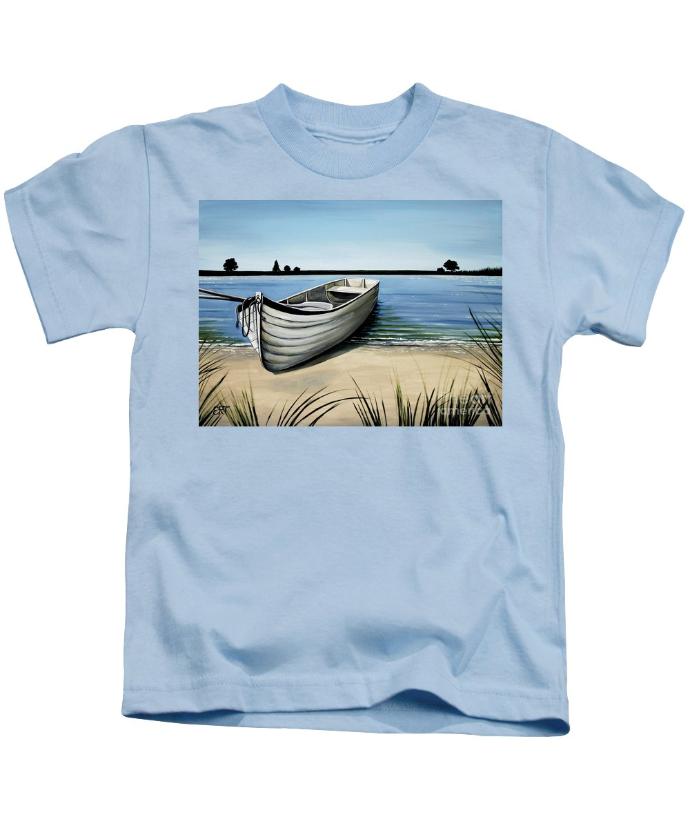 Boat Kids T-Shirt featuring the painting Out On The Water by Elizabeth Robinette Tyndall