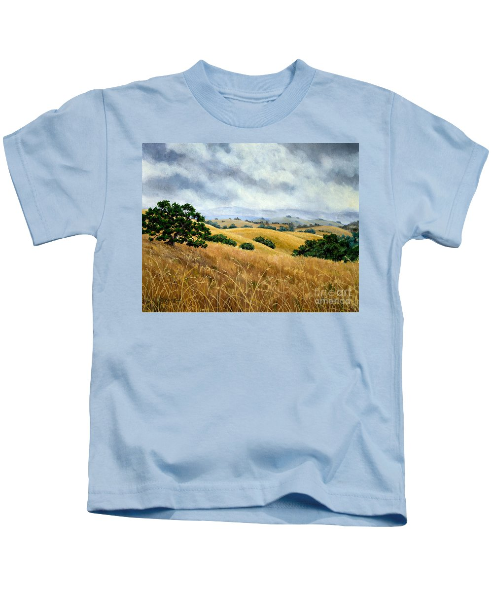 Arastradero Kids T-Shirt featuring the painting Overcast June Morning by Laura Iverson
