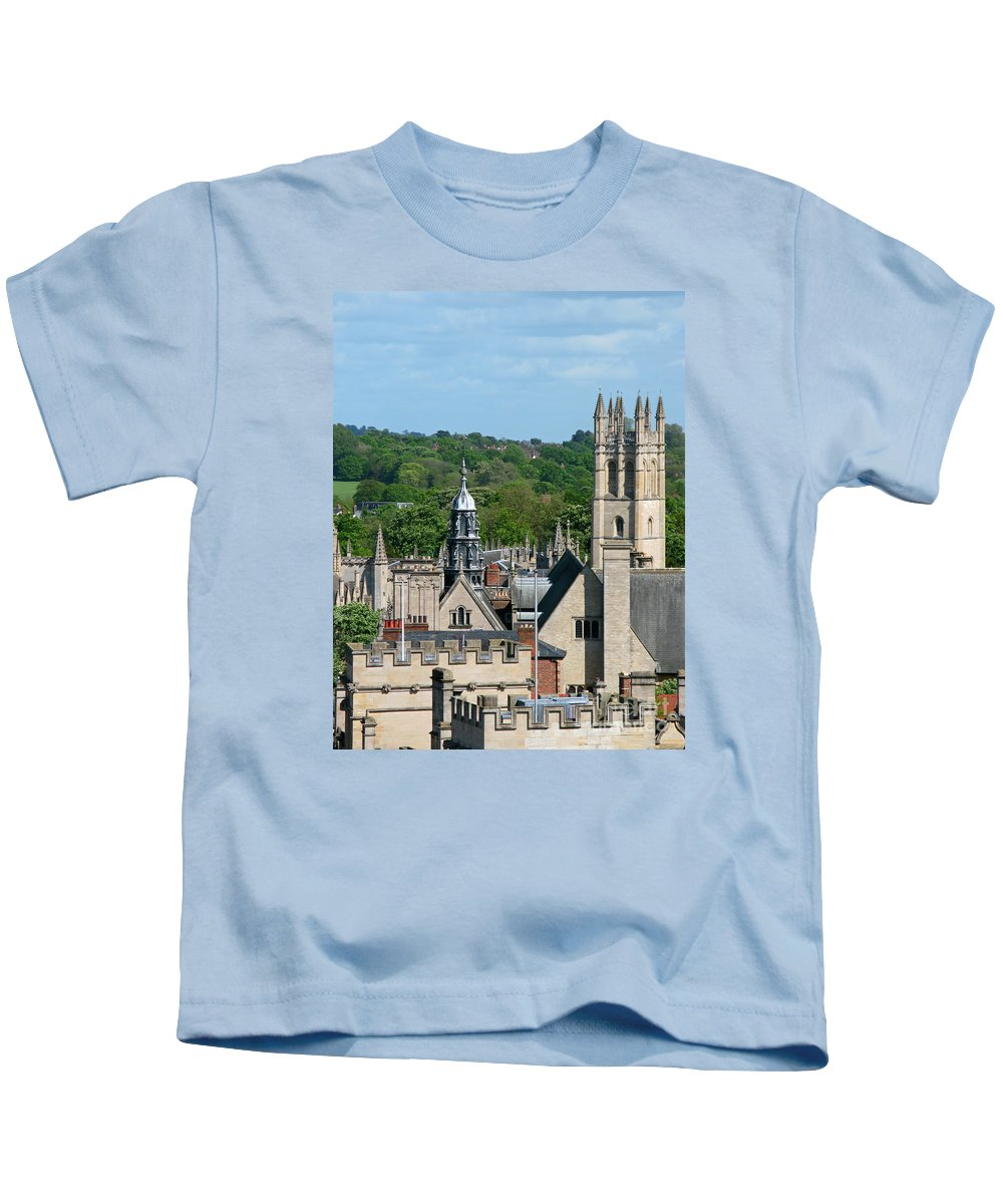 Oxford Kids T-Shirt featuring the photograph Oxford Tower View by Ann Horn