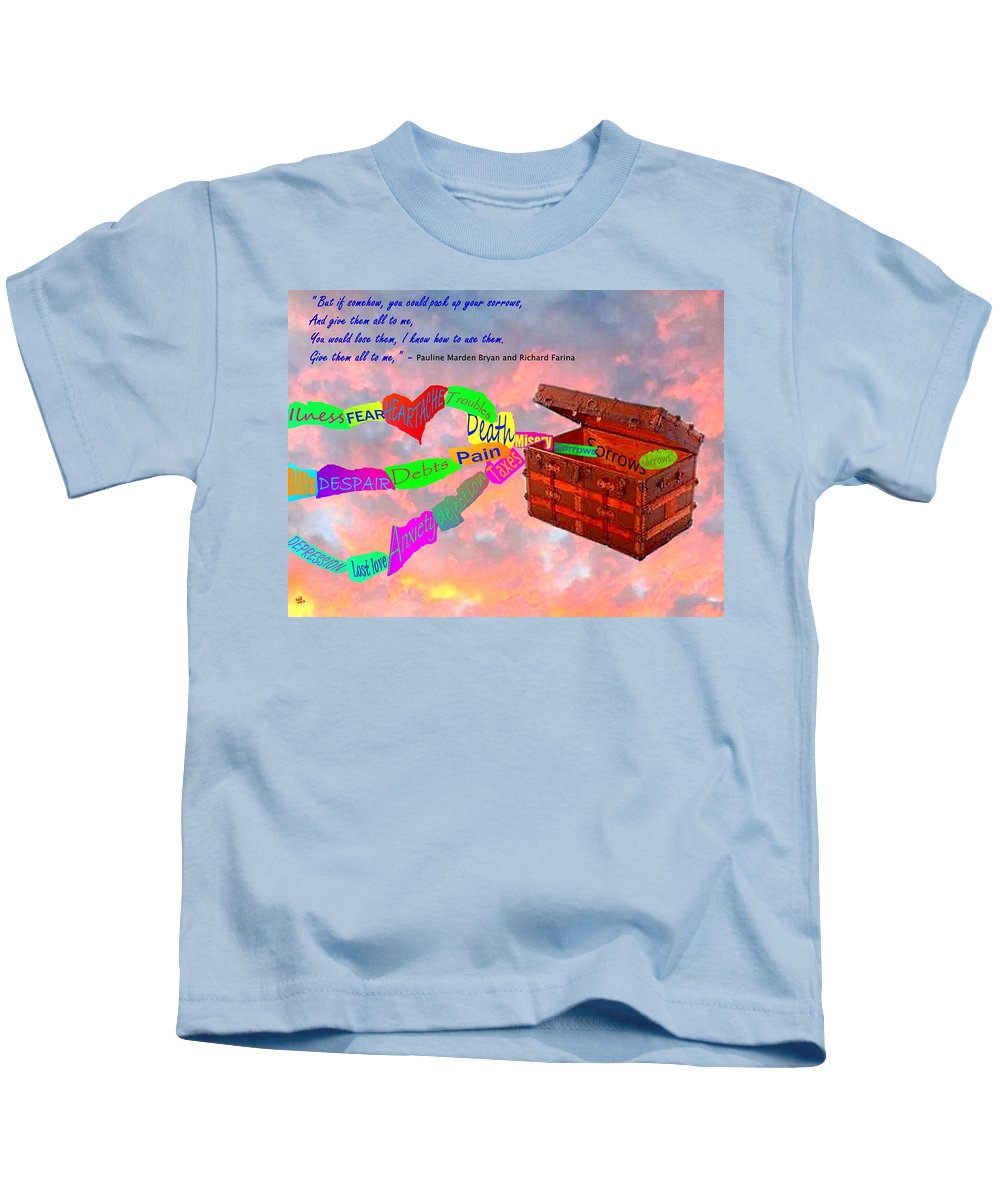 Songs Kids T-Shirt featuring the painting Pack Up Your Sorrows by Cliff Wilson