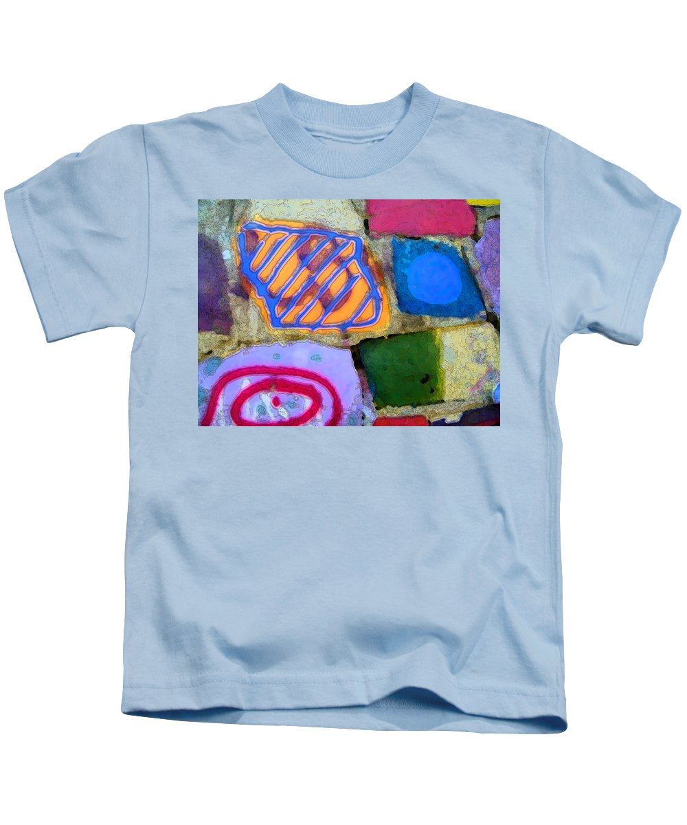 Abstract Kids T-Shirt featuring the digital art Painted Rocks by Lenore Senior