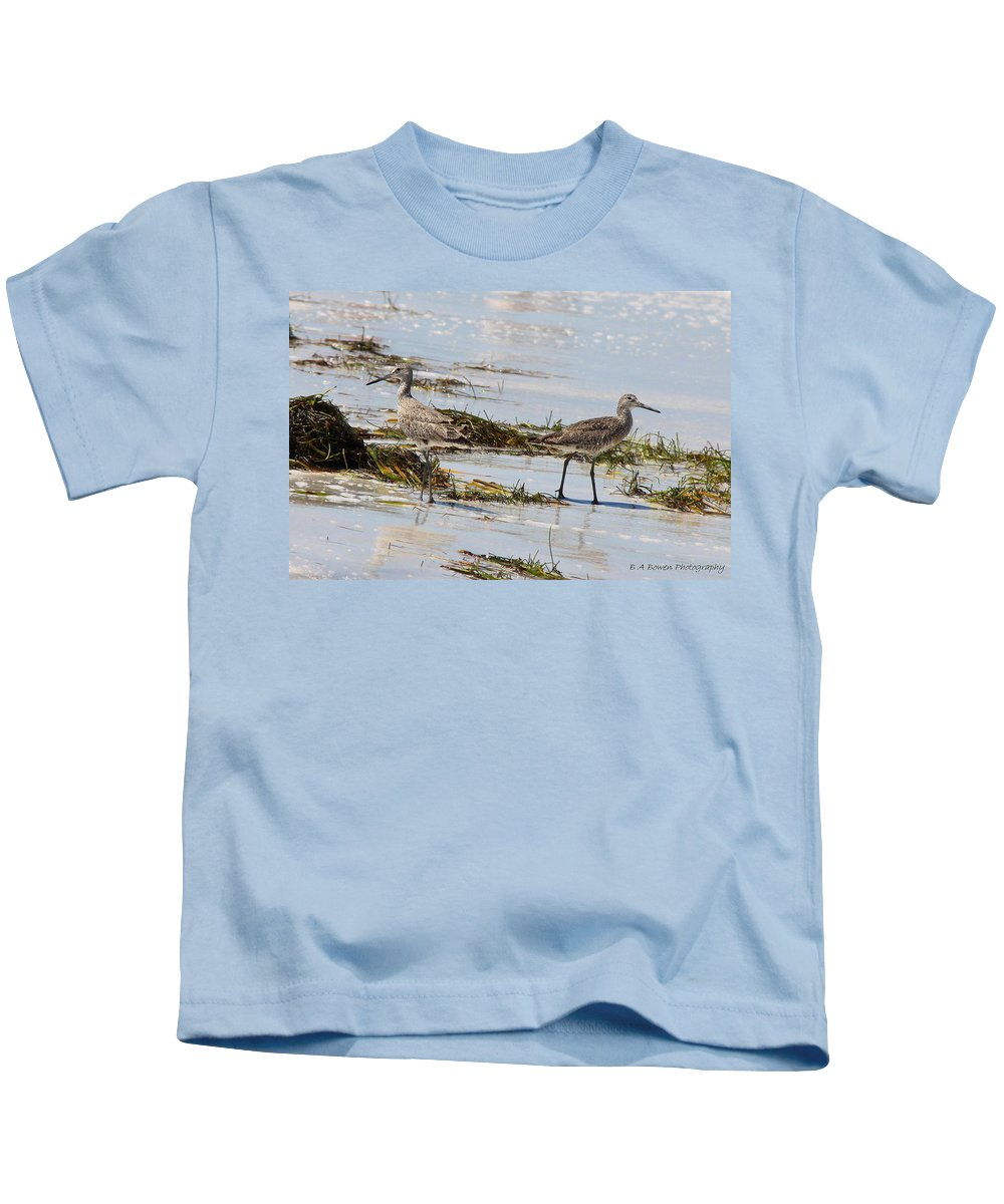 Willets Kids T-Shirt featuring the photograph Pair Of Willets by Barbara Bowen