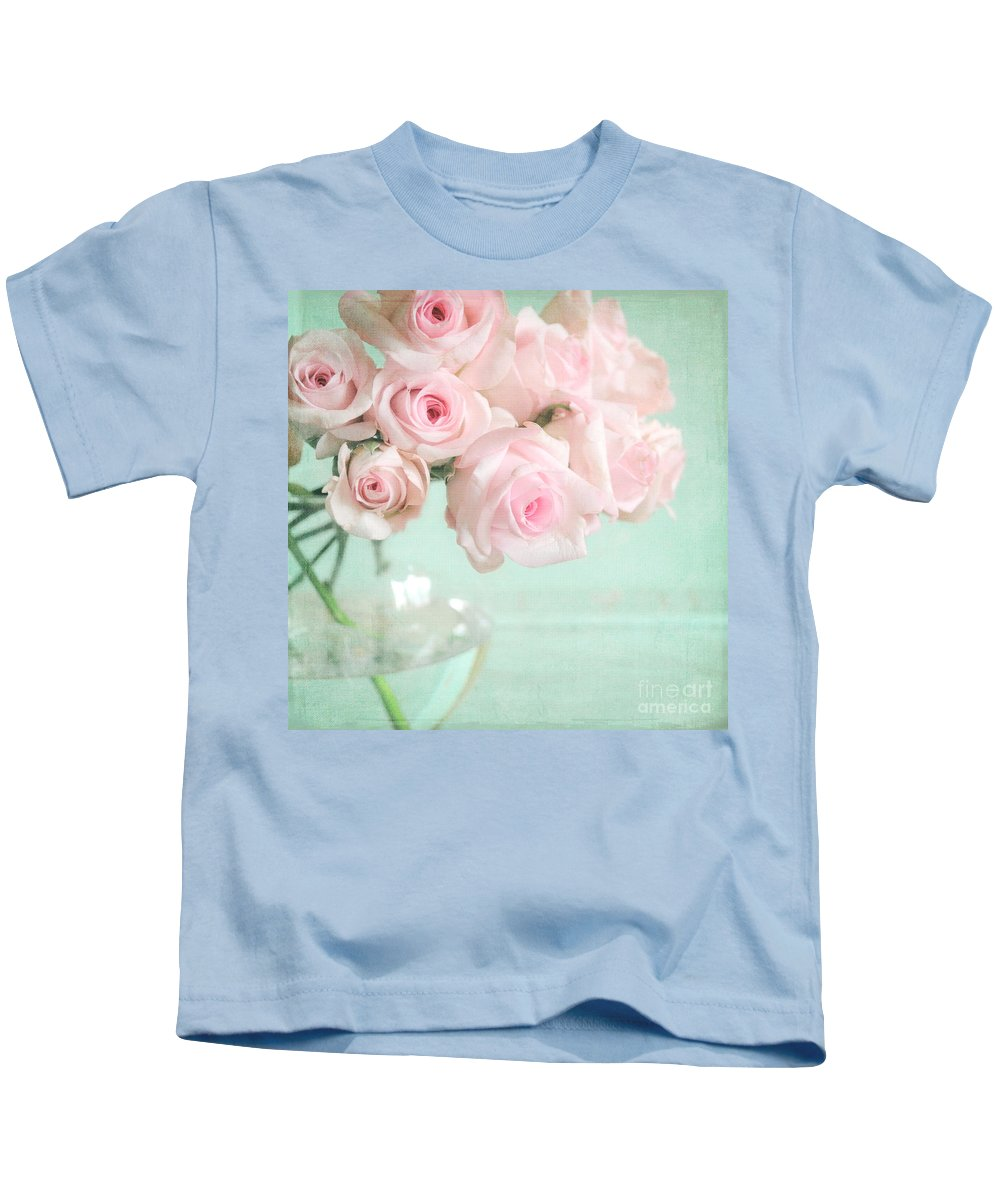 Pink Kids T-Shirt featuring the photograph Pale Pink Roses by Lyn Randle